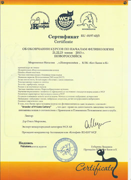 Сертификат фелинологических курсов
